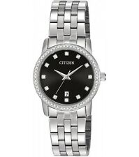 New Citizen Women's Dress Crystal Stainless Steel Watch EU6030-56E
