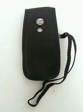 Panasonic VS6 Black Leather Style Flip Phone Case Cover w/ Belt clip