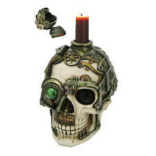 STEAMPUNK GEARWORK SKULL BOX ROBOTIC VINTAGE MACHINERY JEWELRY CANDLE HOLDER