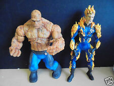 2 X MARVEL TOY BIZ FANTASTIC FOUR LARGE ACTION FIGURES 2005 THING HUMAN TORCH