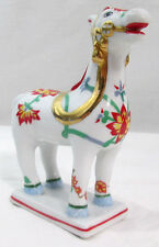 "Franklin Mint Porcelain Kakiemon Horse white red flower 1987 5"" Tall 4.5"" Long"