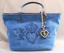 Juicy Couture Blue Velour Her Majesty Tote Handbag