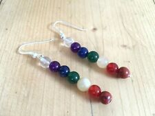STUNNING! 925 SILVER CHAKRA BEAD CRYSTAL DANGLE EARRINGS NEW AGE REIKI JEWELLERY