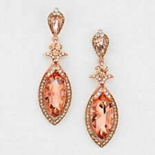 Rose Gold Tn,Peach Imitation White Opal Crystal Pageant Chandelier Earrings 2 ½""