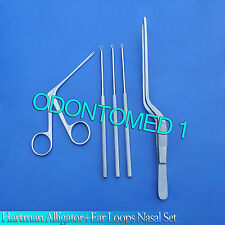 "5-Pieces Hartman Alligator Forceps3.5"" Ear Loops Nasal Surgical ENT Instruments"