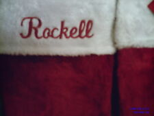 EMBROIDERED, PERSONALIZED ,MONOGRAMED PLUSH RED & WHITE CHRISTMAS STOCKINGS