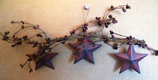 """17"""" Country Rustic Primitive Berry Floral Twig SWAG Tin METAL STAR garland Sign"""