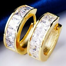 Classic Elegant Gift Real 18K Gold Plated Clear Cubic Zircon Earrings X0306