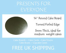 "10 x 14"" Inch Round Silver 3mm Cake Board Weddings, Birthdays  FREE UK SHIPPING"