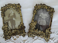 PAIR of ANTIQUE FRENCH PICTURE FRAMES METAL REPOUSSE - ORIGINAL PICTURES & GLASS