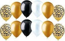 12 pc Leopard Wild Safari Inspired Latex Balloon Party Decoration Gold Cheetah