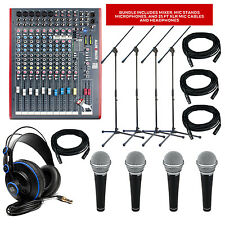 Allen & Heath Zed-12FX Mixer with FX + Mics + Stands + Headphones + Pack Bundle