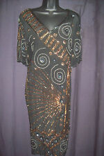Vintage 80s Does 20s AMAZING Sheer Flapper Art Deco Sequins Beads Party Dress
