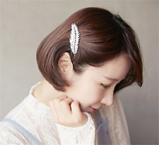 Vintage Girls Women Silver Leaf Feather Hair Barrette Clip Hairpin Bobby Pins Q3