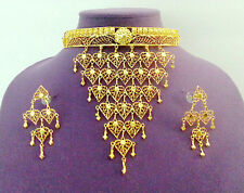 SALE Indian Bridal Dance Designer Sari Jewelry GP Choker Necklace Earrings #366