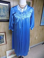 Vintage Dusty Blue Nylon Lace Penney's Matching Nightgown Robe Waltz Length M