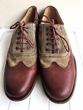 John A. Frye Brown Canvas/ Leather Lace Up Oxford Dress Casual Wingtip Shoes 10