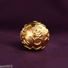 New Pure 999 24K Yellow Gold Pendant Bless Maxim Perfect Lucky Bead Pendant 8mm