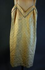 Vintage 1990s 90s Prada Gold Lame Grunge Waif Slip Dress XS S
