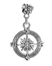 Compass Travel Hiking Camping Dangle Bead for Silver European Charm Bracelets