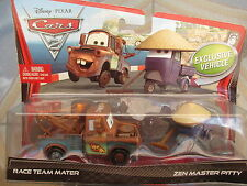 Disney Cars 2 Race Team Mater and Zen Master Pitty Xmas Present Twin Pack