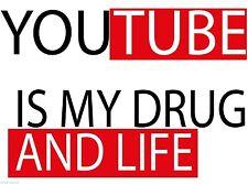 YouTube es mi vida y de la droga Pared Puerta Ventana Pegatina de vehículo