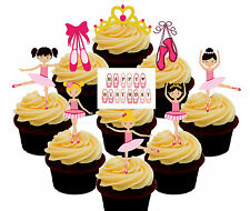 Ballet Dancing, Ballerina Edible Cup Cake Toppers, 36 Stand-up Decorations Girl