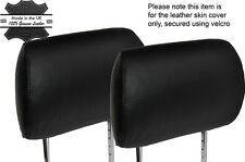 BLACK STITCHING 2X FRONT HEADREST SKIN COVER FITS MERCEDES ML W163 98-05
