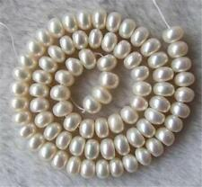 """NEW AAA+ White Freshwater Pearl Roundel Loose Beads 8x9mm 15"""""""
