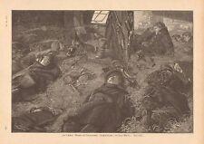 German Soldiers Sleeping In A Barn, Uniforms, Vintage 1893 Antique Art Print