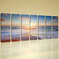 Huge HD Canvas print 7 Pieces Framed Beach Wall Art Sunset Sea Wave Ocean BoYi