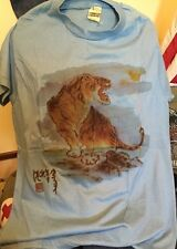 Vintage TIGER Screenstar 50/50% Cotton/Poly Blue Thin Same 3D T Shirt. Size XL