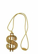 DOLLAR MEDALLION NECKLACE IN GOLD 70s 80s GANGSTER MENS FANCY DRESS