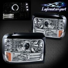 [LED Halo] 1992-1996 Ford F150 F250 F350 Bronco Chrome Projector Headlights Pair