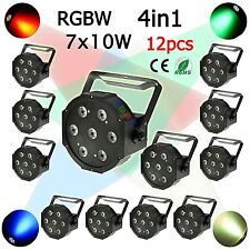 12PCS 7X10W RGBW 4IN1 LED PAR LIGHT DMX 512 CAN FLAT PAR64+FEDEX SHIPPING