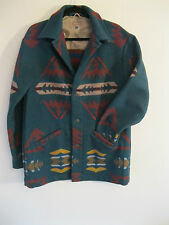 Vintage Men's Pendleton High Grade Wool Green Navajo Jacket MADE IN USA. Size M