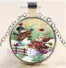 Snowman And Little Red Bird Cabochon Tibet Silver Chain Pendant Necklace#A37