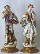 ART ITALY Vintage Pair Man & Woman Porcelain Figurines Signed L Motta
