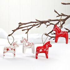 4 Scandinavian Swedish Dala Horse Ornaments #7261