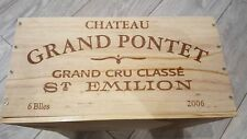 CHATEAU PONTET ST EMILION 6 BOTTLE FRENCH WOODEN WINE CRATE BOX HAMPER STORAGE