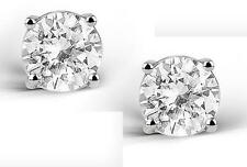 2 CARAT WHITE TOPAZ ROUND CUT STERLING SILVER STUD EARRINGS (NEW)