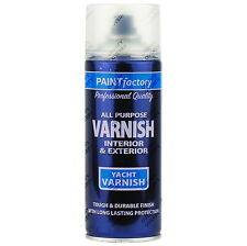 21 x 400ml All Purpose Clear Yacht Varnish Gloss Aerosol Spray Paint Household