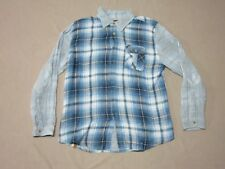 INSIGHT MENS URBAN OUTFITTERS BLUE PLAID L/S BUTTON UP SHIRT SIZE LARGE PREOWNED