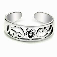 Silver Flower Toe Ring Sterling Silver 925 Adjustable Best Deal Jewelry Gift