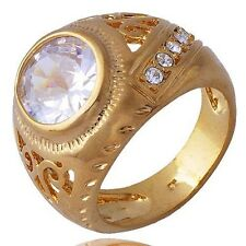 Brilliant Stone mens Gift Yellow Gold Filled Zirconia Cubic Stone Ring Size 8