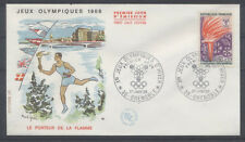 FRANCE FDC - 1545 2 JO FLAMME OLYMPIQUE - GRENOBLE 27 Janvier 1968 - LUXE