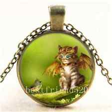 Vintage Steampunk Cat and Bird Cabochon Glass Bronze Chain Pendant Necklace
