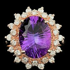 LUXURIOUS DESIGNER Carlyle & Co. ! 14K WHITE GOLD HUGE AMETHYST & DIAMOND RING!