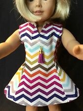 "18"" Doll Clothes American Girl Handmade Dress Flare Stand-up Collar Tassel Neck"