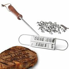 BBQ Barbecue Barbeque Branding Iron Tool Meat Steak Burger + Changeable Letters